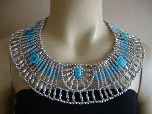 Egyptian Queen Beaded Collar Necklace Baby Blue/Turquoise and Silver