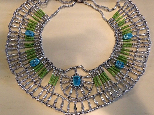 Egyptian Queen Beaded Collar Necklace Baby Blue/Turquoise Green and Silver