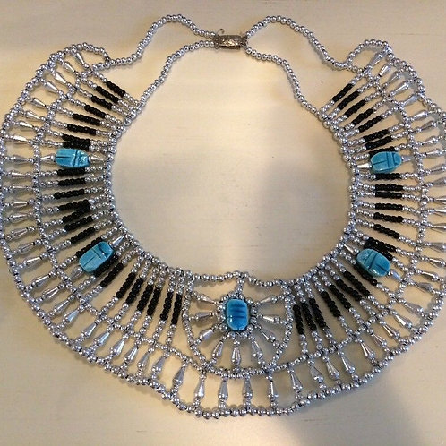 Egyptian Queen Beaded Collar Necklace Baby Blue/Turquoise Black and Silver