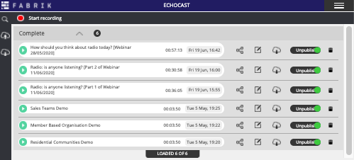 Echocast's home screen.