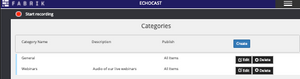 The Categories section of Echocast.