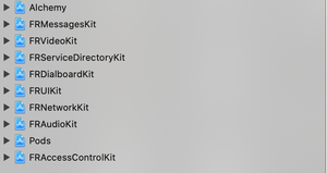iOS App Architecture, with each major feature being a separate project.