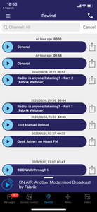 Podcasts displaying within the Fabrik app.