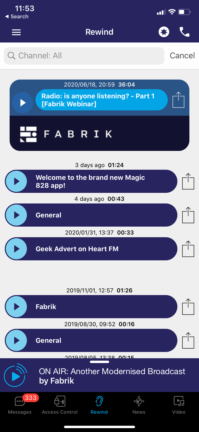A Featured podcast displaying within the Fabrik app.