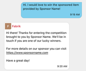 A screenshot indicating the automated response Smashboard sends to competition entrants.