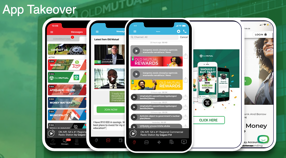 Screenshot depicting a full app takeover campaign implementation.