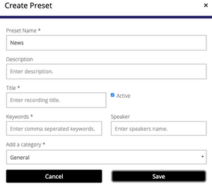 Create a Preset using Echocast.