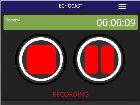 Echocast's audio recording screen.