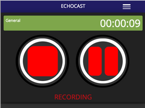 Echocast's audio recording screen.