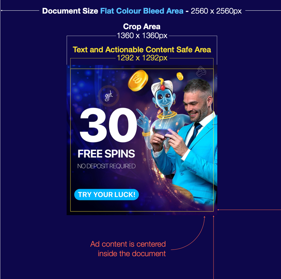 A screenshot depicting size and safe area of a billboard.