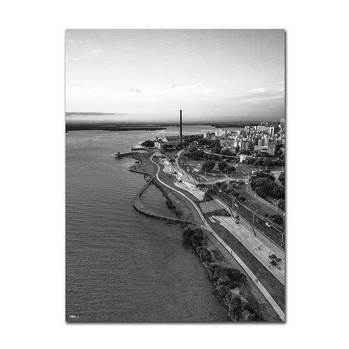 Quadro Orla do Gasômetro Vertical P&B  - Porto Alegre - RS