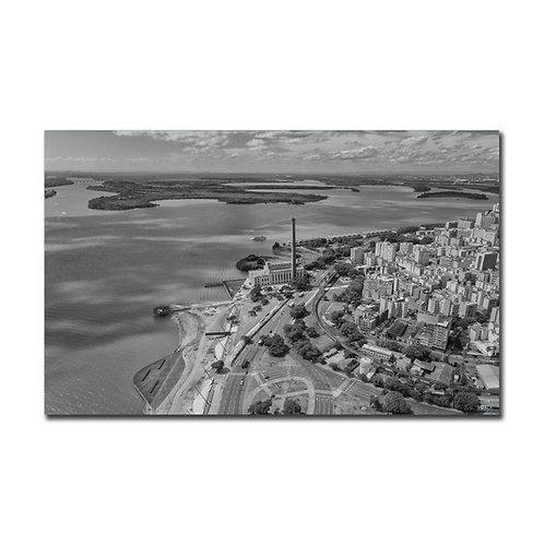 Quadro Usina do Gasômetro e Cisne Branco P&B - Porto Alegre - RS