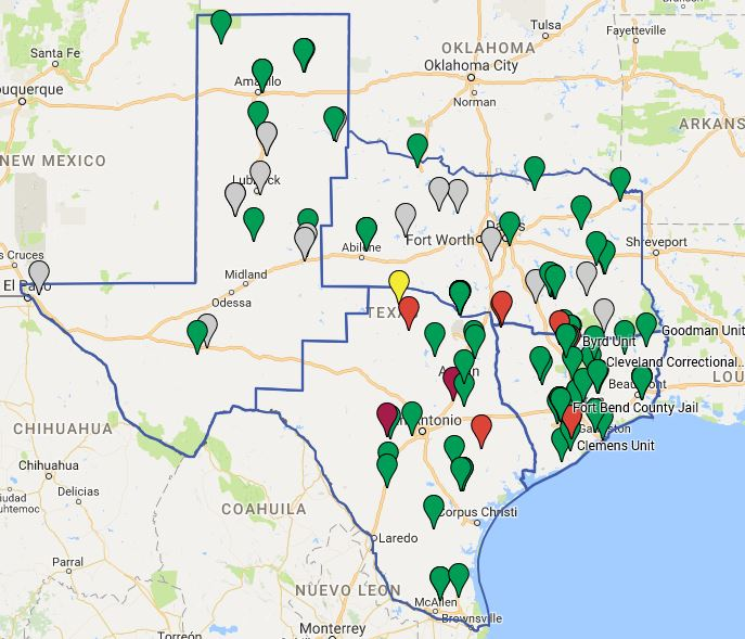 Map Of Texas Prisons.Texas Prison Group 1