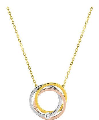 Collier Or tricolore 375/000 oxyde de zirconium