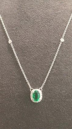 Collier Or blanc 750/000 Emeraude et diamants