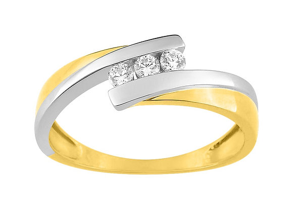 Bague Or bicolore 375/000 oxyde de zirconium