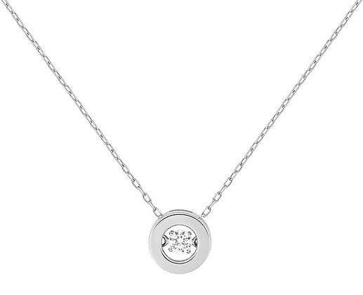 Collier Or blanc 375/000 oxyde de zirconium