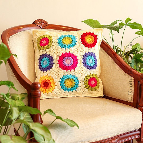 Rainbow Sunburst Cushion Cover