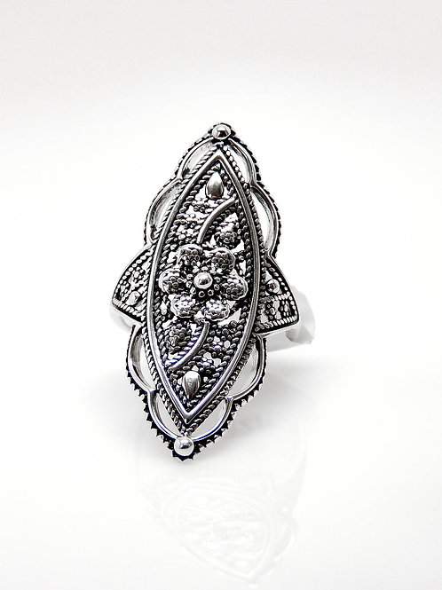 Sterling Silver Fancy Rope Flower Ring