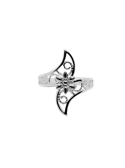 R191 - Sterling Silver Flower and Vines Ring