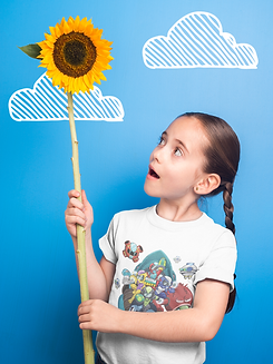little-girl-holding-a-big-sunflower-wearing-a-t-shirt-mockup-against-a-blue-wall-with-clou