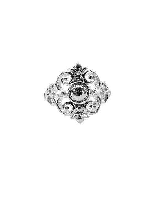 R253 - Sterling Silver Fleur-de-lis Vines Ring