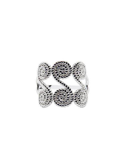R182 - Sterling Silver Swirly Rope Ring