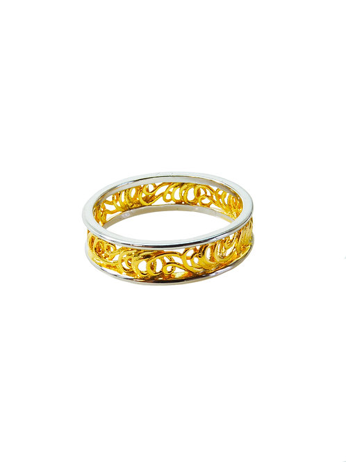R284 - Sterling Silver &  Gold Plated String Eternity Ring