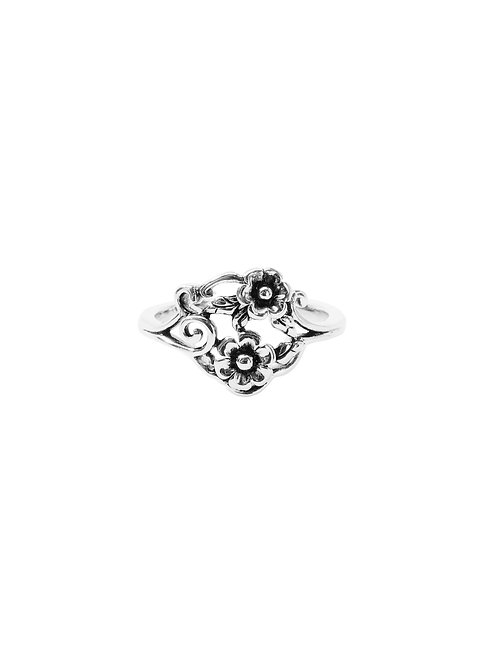 R247 - Sterling Silver Two Flower Ring