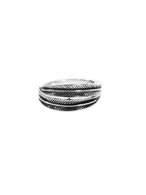 R299- Sterling Silver Wrapped Leaf Ring