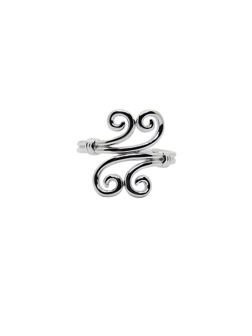 R208 - Sterling Silver Double Mirror Swirl Ring