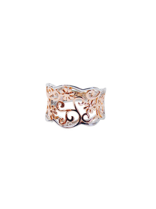 R287 - Sterling Silver & Rose Gold Flower Ring