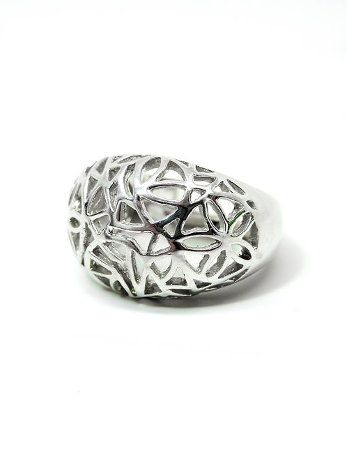 Sterling Silver Large Basket Dome Ring