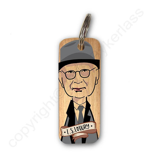 L.S. LOWRY CHARACTER WOODEN KEYRING
