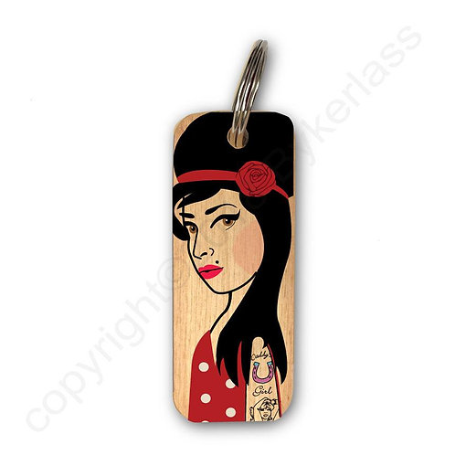 Amy Winehouse Character Wooden Keyring