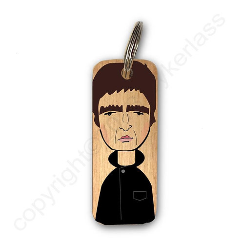 Noel Gallagher Character Wooden Keyring