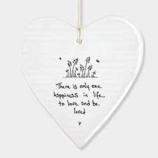 East of India Porcelain Heart Hanger