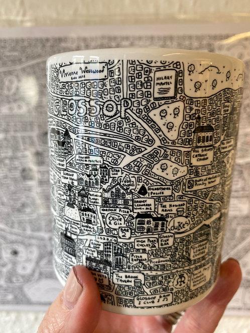 DAVE DRAWS GLOSSOP DOODLE MAP MUG