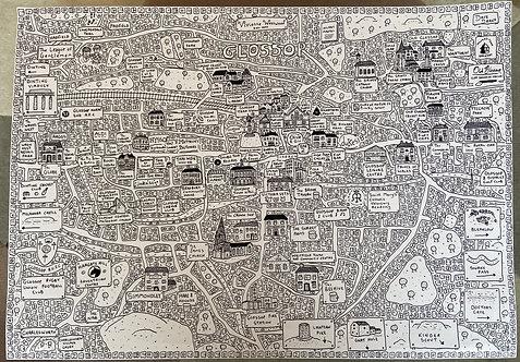 Glossop Doodle Map - A4