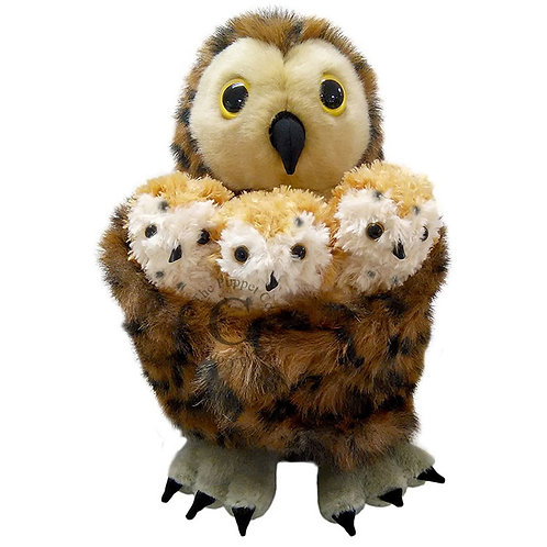 Puppet Company Owl Hand Puppet with Three Baby Owl Finger Puppets