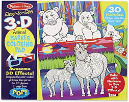 EASY TO SEE 3D ANIMAL MARKER COLOURING PAD