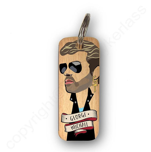GEORGE MICHAEL CHARACTER WOODEN KEYRING