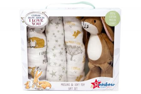 GUESS HOW MUCH I LOVE YOU SOFT TOY & MUSLINS GIFT SET