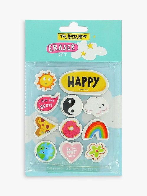 Happy News Eraser Set
