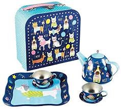 Pets 7 Piece Tin Tea Set