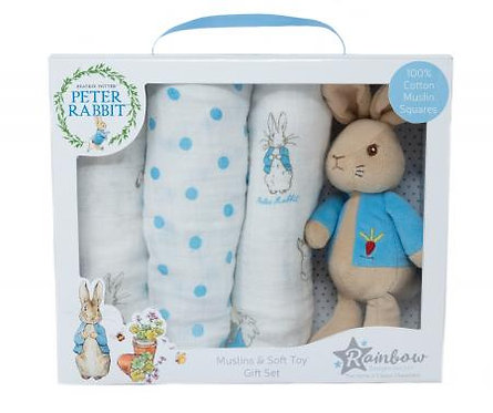 PETER RABBIT SOFT TOY AND MUSLIN GIFT SET