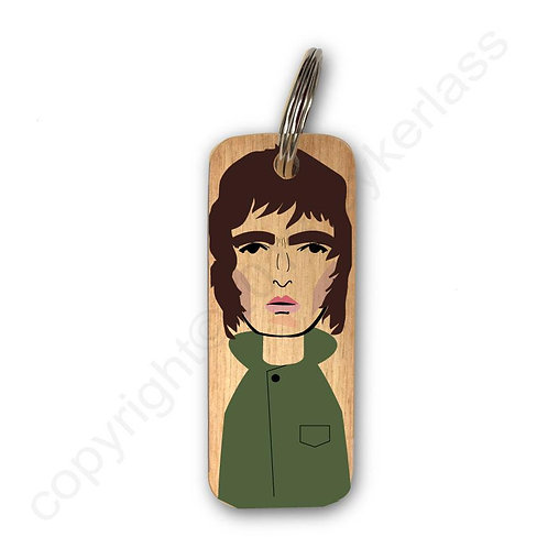 Liam Gallagher Character Wooden Keyring