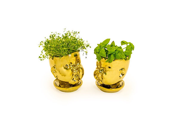 PAIR Of Baby Face Pot/Vase (Gold)