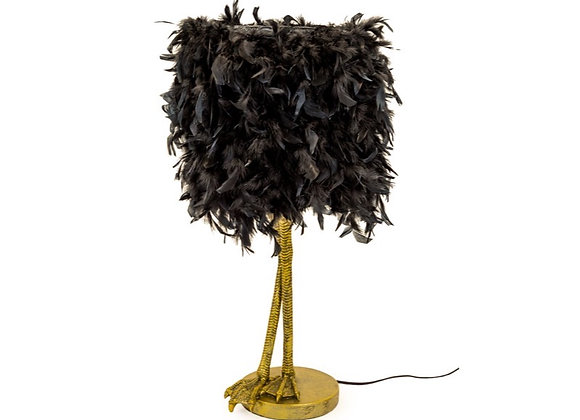 Funky Gold Bird Leg Lamp With Black Feather Shade