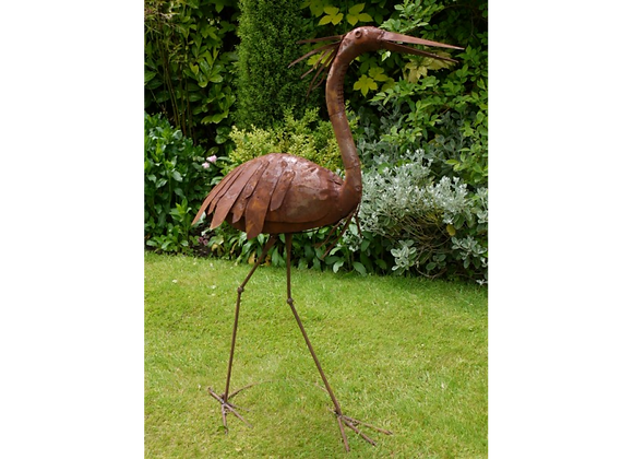 Rustic Standing Heron Outdoor Ornament (Small)